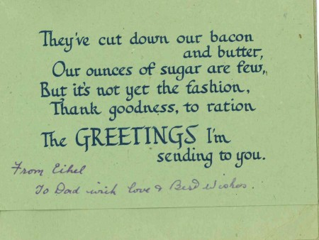 Inside the wartime birthday card a suitably foody rationing joke (Image: author's collection, World War Zoo gardens collection)