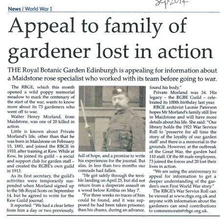 Royal Botanic Gardens Edinburgh search for Walter Morland's relatives, Maidstone Downs Mail September 2014