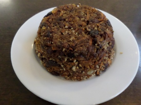 Our trial War and Peace Christmas Pudding - before pretasting by keepers - at Newquay Zoo.