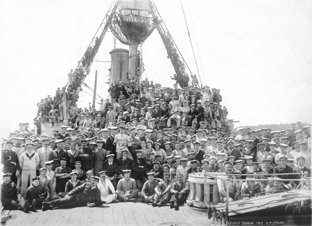 Matthew Walton is one of the older  sailors somewhere amongst HMS Kent ship's company photo, taken during refit late 1915 after the Battle of the Falklands (Photo from Adrian Beaumont)