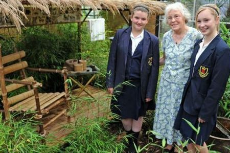 Ness Botanic Gardens FEPOW Bamboo Garden launch with Elizabeth and Zoe,  pupils from Pensby High School and Merle Hesp, widow of a FEPOW Harry Hesp, 2011.  Image source: Captive Memories website.