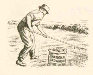 How every well dressed gardener should appear on the allotment - National Growmore Fertiliser illustration from the January 1945 Min of Ag Allotment Guide