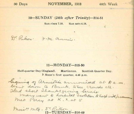 11 November 1918 entry, Edith Spencer's diary. Source: Mark Norris, World War Zoo Gardens collection