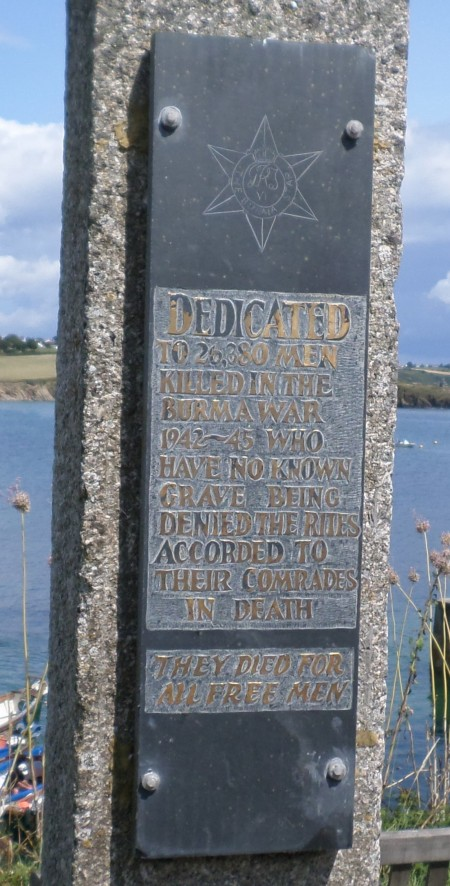 Close up of the Burma Star memorial inscription, Portscatho, Cornwall  Image: Mark Norris