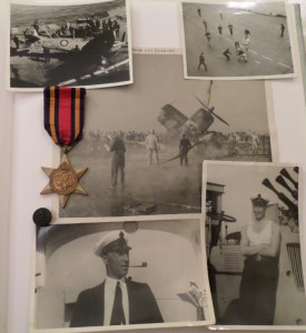 My grandfather Len Ansell's Burma Star for naval service, with two portraits and his photos of life on board deck of an RN aircraft carrier from kamikaze attacks and seaplane prangs to deck hockey c. 1944/45 Source Image: Mark Norris, World War Zoo gardens Collection.