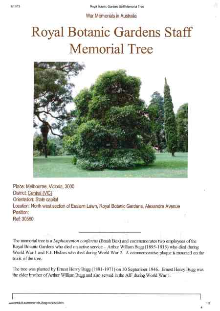Melbourne Botanic Gardens Australia staff memorial tree.