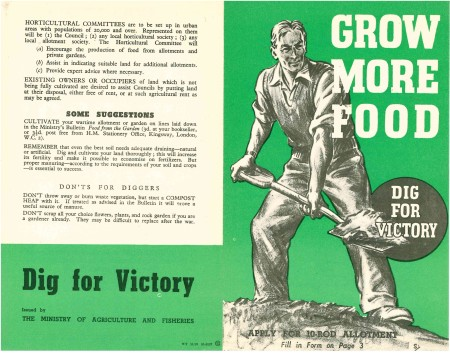 The Government's November 1939 leaflet on obtaining an allotment to Dig For Victory. By 1945 wartime soil and wartime gardeners would be showing the strain of tiredness. (Image source: World War Zoo Gardens Collection / Newquay Zoo)