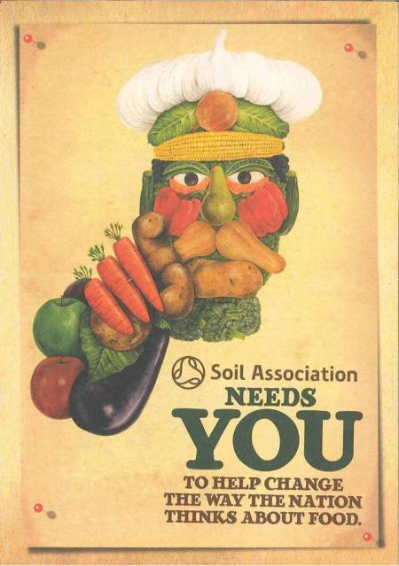 The Soil Association's clever fusion of Renaissance artist Arcimboldo and the WW1 Kitchener poster (Source: Soil Association / World War Zoo gardens collection, Newquay Zoo)