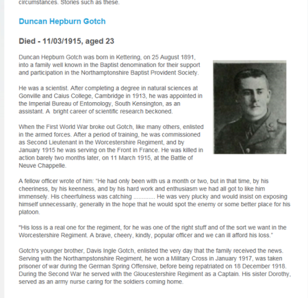 Source: Baptist.org website WW1 article by Jonathan Barr, 2014