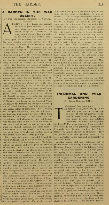 "Herbert Cowley's article ""A Garden in a War Desert"", The Garden Illustrated journal June 26, 1915"