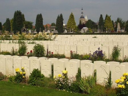 Bailleul Cemetery Extension where Paice lies. Source image: CWGC.