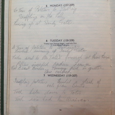D-Day 1944 entry in John Alsop's farmer's diary. Image source: Mark Norris, private collection.