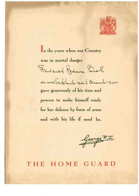 home guard cert ww2