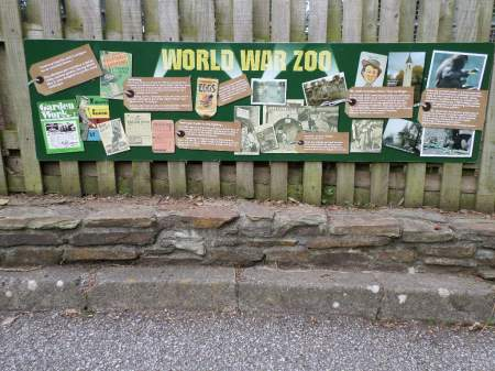 World War Zoo Gardens sign, Newquay Zoo, Cornwall, UK