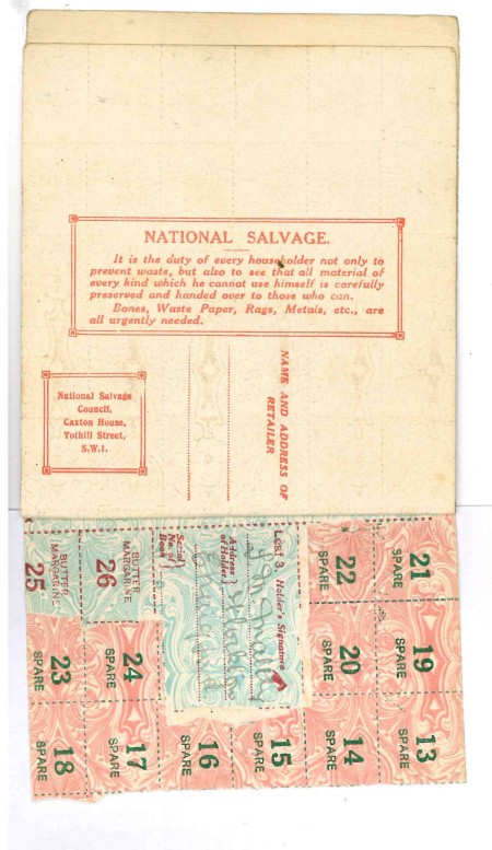 Salvage message in WW1 ration book (Image Source: Mark Norris, private collection)