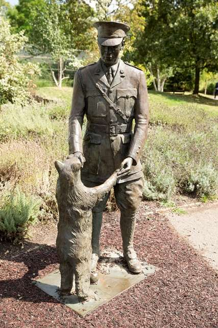 ZSL London Statue of Winnie the Bear donated as a WW1 Regimental Mascot (inspiration for Winnie the Pooh) and his Canadian handler. Image: Mark Norris, 2014.