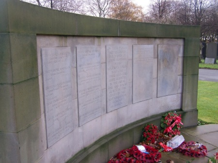 Sidney / Sydney Turner's name can be glimpsed on the top of the plaque of this CWGC memorial in Gorton Cemetery, Manchester. (Image: CWGC)
