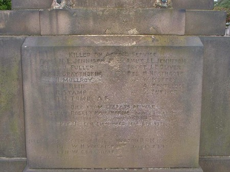 The damaged Belle Vue memorial names section, thankfully carved in stone as the statue has been stolen. Image: manchester history.net photo