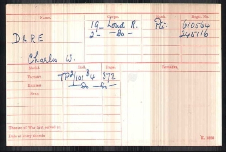 c w dare medal card ww1